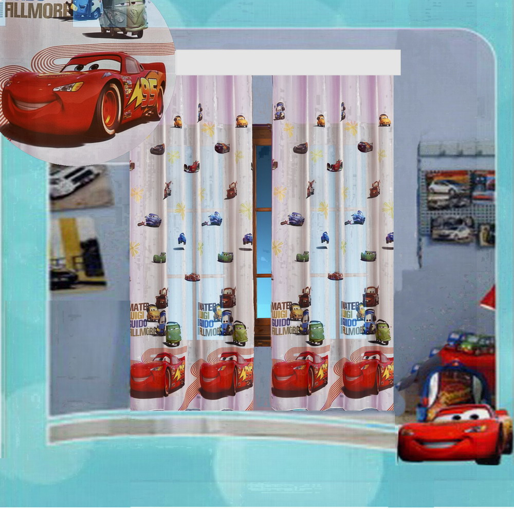 kinderzimmer gardine auto cars ii disney 2 teile 2x 208x126 208x252 top vorhang ebay. Black Bedroom Furniture Sets. Home Design Ideas