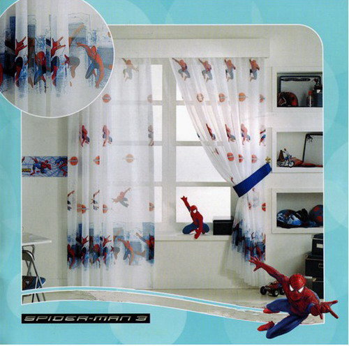 spiderman gardine 2 teile 2x 150x126 150x252 kinderzimmer disney top vorhang ebay. Black Bedroom Furniture Sets. Home Design Ideas