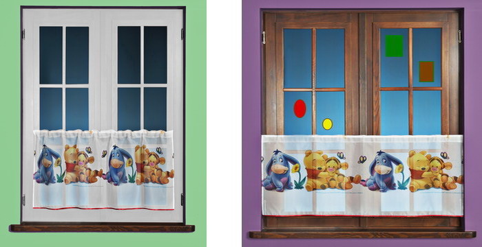 scheibengardine winnie pooh baby kinder gardine 185x50. Black Bedroom Furniture Sets. Home Design Ideas